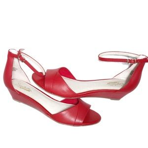 Seychelles Anthropologie Red Wedge Sandals 8.5